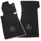 Tapis de sol noir - logo + contours beigeMercedes-Benz R107 SL 1971-1989