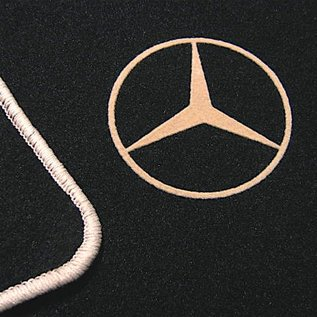 Mercedes-Benz R107 SL 1971-1989 Floor mat set black - tan logo + trim