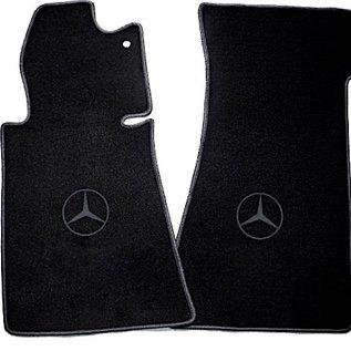 Mercedes-Benz R107 SL 1971-1989 Floor mat set velours black - dark grey logo + trim