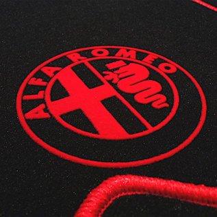 Alfa Romeo Alfetta + GT + GTV + GTV6 1972-1987 Floor mat set velours black - red logo + trim