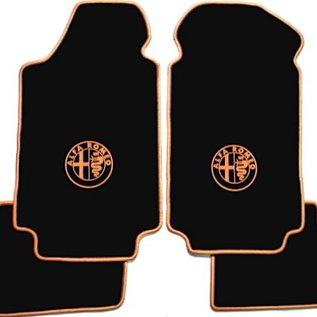 Alfa Romeo Alfetta + GT + GTV + GTV6 1972-1987 Floor mat set velours black - gold logo + trim