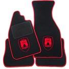 Floor mat set black-red Wolfsburg logo + trim VW Beetle 1200 1300 1500