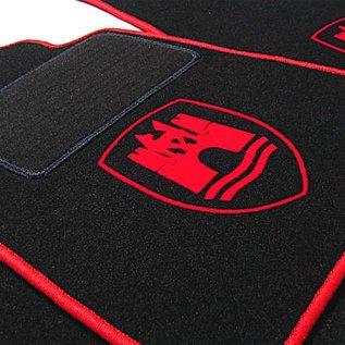 VW Beetle 1200 1300 1500 Floor mat set black-red Wolfsburg logo + trim