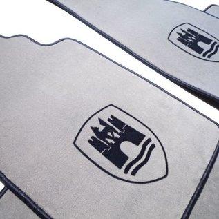 VW Beetle 1200 1300 1500 Floor mat set velours grey - black Wolfsburg logo + trim