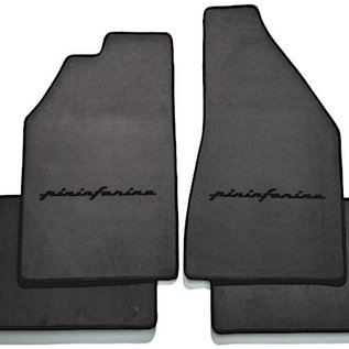 Fiat 130 Coupe Floor mat set velours dark grey - black Pininfarina script + trim