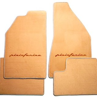 Fiat 130 Coupe Floor mat setvelourstan - gold Pininfarina script