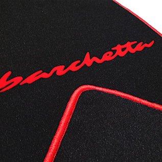 Fiat Barchetta 2004-2005 Floor mat setveloursblack - red script + trim