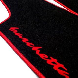 Fiat Barchetta 1995-2002 Floor mat setvelours black - red vertical script + trim