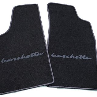 Fiat Barchetta 1995-2002 Floor mat setvelours black - dark grey script + trim
