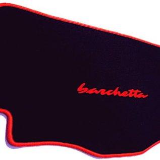 Fiat Barchetta 1995-2005 Trunk mat velours black - red script + trim