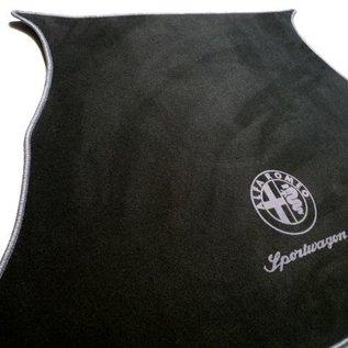 Alfa Romeo 156 SportWagon 2000-2005 Trunk mat velours black - grey logo + script + trim