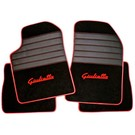 Floor mat set premium velours black - red script + semi-leather trimming Alfa Romeo Giulietta 2010-2015