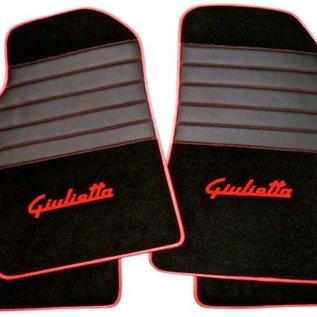 Alfa Romeo Giulietta 2010-2015 Floor mat set premium velours black - red script + semi-leather trimming