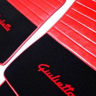 Alfa Romeo Giulietta 2010-2015 Floor mat set premium velours black - red script + red semi-leather trimming