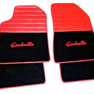 Alfa Romeo Giulietta 2010-2015 Tapis de sol premium velours noir - sigle rouge + similicuir rouge
