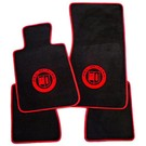 Floor mat set velours black-red Alpina logo + trim BMW E30 Cabriolet