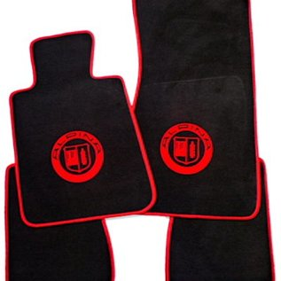 BMW E30 Cabriolet Floor mat set velours black-red Alpina logo + trim