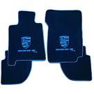 Floor mat setvelours dark blue - blue logo + script Porsche 928 S4