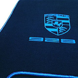 Porsche 928 S4 Floor mat setvelours dark blue - blue logo + script