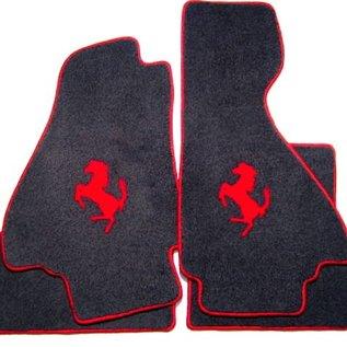 Ferrari Mondial 3.2 Coupe 1985-1989 Floor mat setveloursblack - red horse + trim