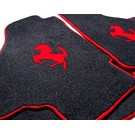 Floor mat set velours black - red horse + trim Ferrari Mondial 3.2 Coupe 1985-1989