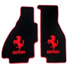 Floor mat setveloursblack - red horse/script + trim Ferrari 308 GTS