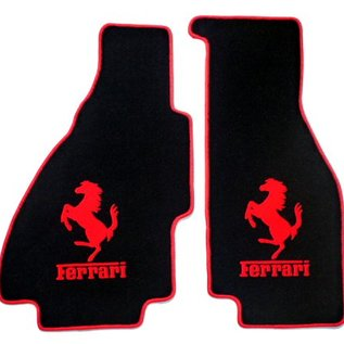 Ferrari 308 GTS Floor mat set velours black - red horse/script + trim