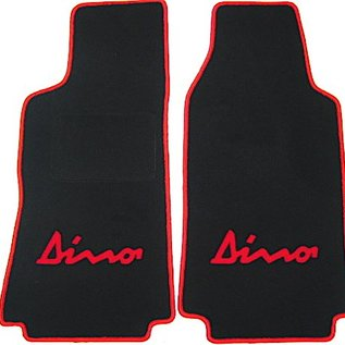 Fiat Dino Coupe Floor mat set front velours black - red script + trim