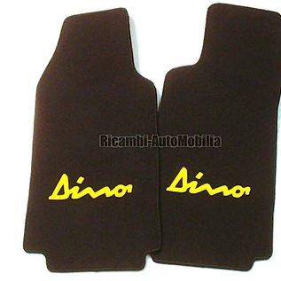 Fiat Dino Coupe Floor mat setfront veloursblack - yellow script