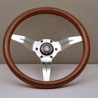 "Nardi ""Deep Corn"" wood + polished spokes 33 cms. steering wheel"