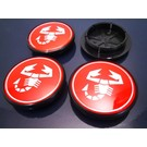 Center wheel cap set red Abarth 55 mms.