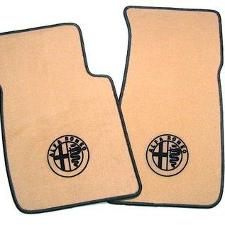 Alfa Romeo Spider 1983-1993 Floor mat set velours tan - black logo + trim