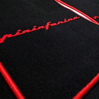 Coupe Fiat 1993-2000 Floor mat set velours black - red Pininfarina script + trim