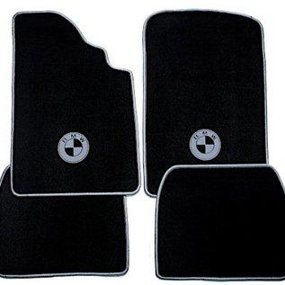 BMW 1500 1600 1800 2000 1962-1972 Floor mat set velours black-grey logo + trim