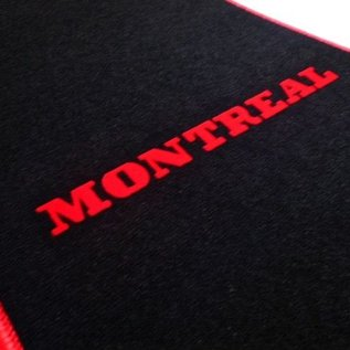 Alfa Romeo Montreal Floor mat set velours black-red Montreal script + trim