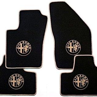 Alfa Romeo 159 + SW 2005-2011 Floor mat set velours black-tan logo + trim
