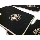 Floor mat set velours black-tan logo + trim Alfa Romeo 159 + SW 2005-2011