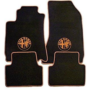 Alfa Romeo 159 + SW 2005-2011 Floor mat set velours black-gold logo + trim