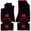 Floor mat set velours black-red 4 x logo + trim Alfa Romeo 159 + SW 2005-2011