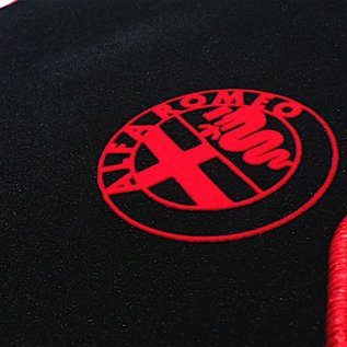 Alfa Romeo 159 + SW 2005-2011 Floor mat set velours black-red 4 x logo + trim