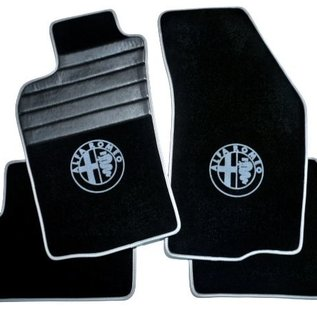 Alfa Romeo 147 Floor mat set premium velours black-grey logo + trim