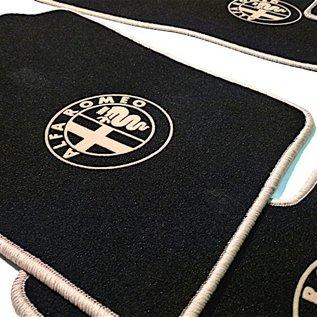 Alfa Romeo 147 Floor mat set velours black-tan 4 x logo + trim