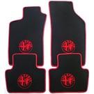 Floor mat set velours black-red 4 x logo + trim Alfa Romeo 147