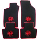Tapis de sol velours noir - 4 x logo + contours rougeAlfa Romeo 147
