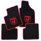 Tapis de solveloursnoir-logo Abarth/contours rouge Abarth Fiat 500 2008-2014