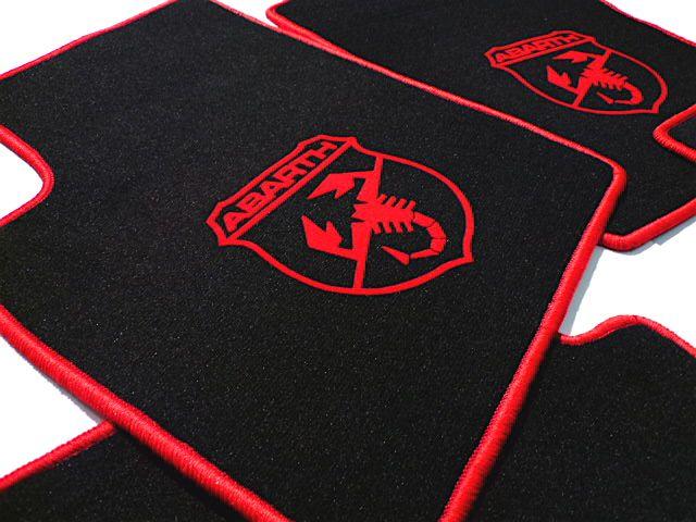 Abarth Fiat 500 2008 2014 Floor Mat Set Velours Black Red