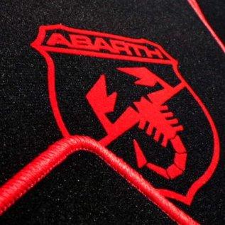 Abarth Fiat 500 2008-2014 Floor mat setveloursblack-red Abarth logo/trim