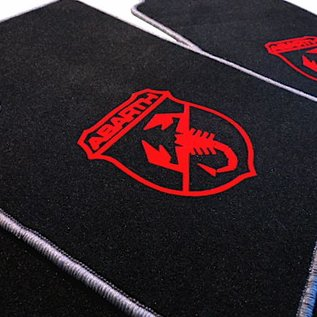 Abarth Fiat 500 2008-2014 Floor mat set velours black-red Abarth logo - grey trim