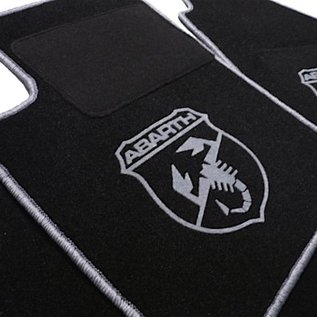 Abarth Fiat 500 2008-2014 Floor mat setveloursblack-grey Abarth logo/trim