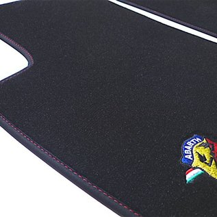 Abarth Fiat 500 2008-2014 Floor mat set velours black + Abarth logo + Nubuck trim